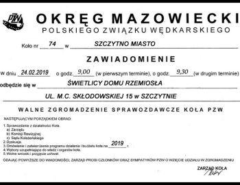 ZEBRANIE SPRAWOZDAWCZE ZA 2018 ROK - 24 LUTEGO 2019 R